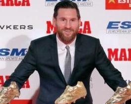 超越C罗 梅西拿下职业生涯第五座欧洲金靴奖