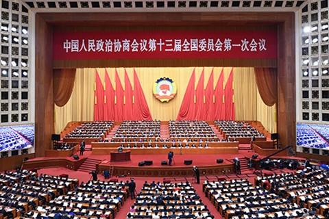 全国政协十三届一次会议举行第三次全体会议